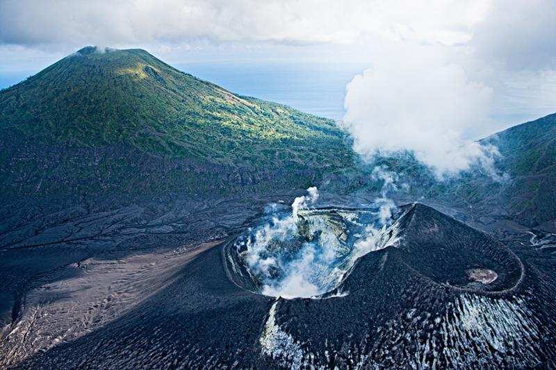 Arial shot of the impressive volcanoes at Rabaul in Papua New Guinea