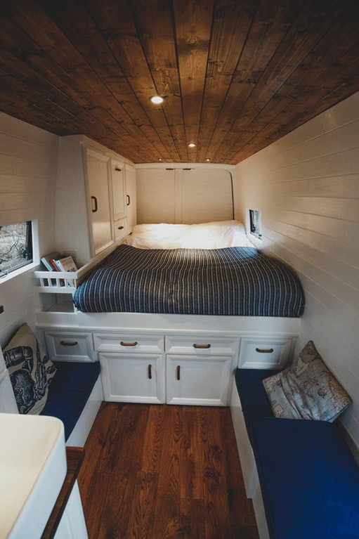 A campervan that looks like a bedroom