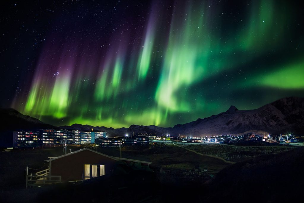 The northen lights in Winter